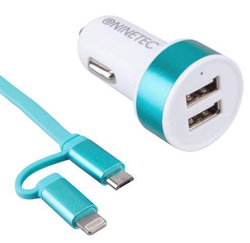 NINETEC   3.1A Dual KFZ Ladegerät mit 2in1 Lightning & Micro USB Ladekabel für nur 8,88€