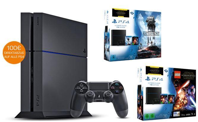 Playstation 4 mit 100€ Abzug PlayStation 4 Konsole ab 249€ dank 100€ Sofort Rabatt Aktion auf ausgewählte PS4 Konsolen und Bundle