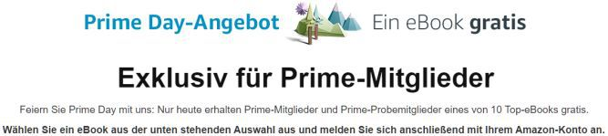 Amazon Prime Day: 1 von 10 Vollpreis Ebooks gratis
