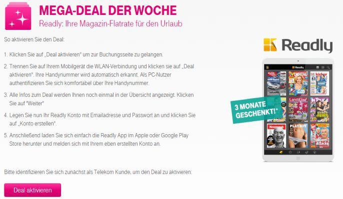 Readly Telekom Nur für Telekom Kunden: 3 Monate Readly kostenlos – Zugriff auf über 1.650 Magazine (Wert 29,97€)
