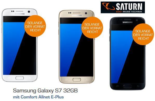 Samsung S7 Saturn Angebot Samsung Galaxy S7 + Comfort Allnet E Plus + 1GB Datenflat für 19,99€ mtl.