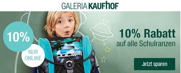 Galeria Kaufhof mit 10% Rabatt auf Schulranzen