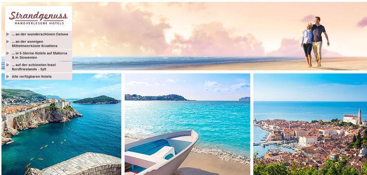 Strandgenuss Strandgenuss   handverlesene Hotels an Ost  u. Nordsee, Mittelmeer zu guten Preisen