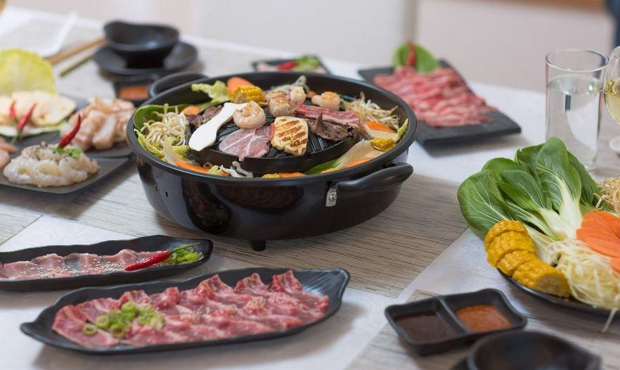 TomYang BBQ TomYang BBQ und Hot Pot Elektro Kochgrill mit Zubehör für 139€