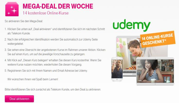 Udemy Deal Nur für Telekom Kunden: 14 kostenlose Udemy Kurse