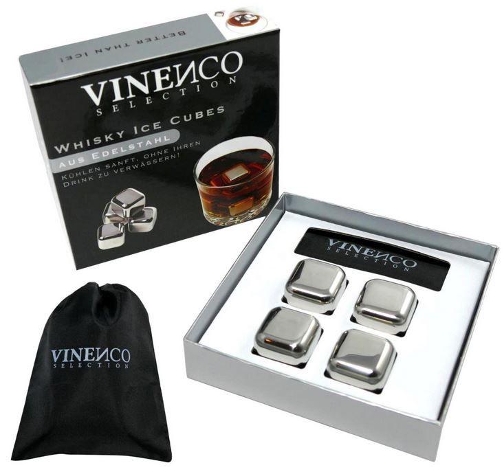 VINENCO Whisky Ice Cubes Set  VINENCO Whisky Ice Cubes Set unschmilzbar aus Edelstahl ab 16,99€