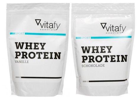 Vitafy Essentials Whey Protein 2kg Vitafy Essentials Whey Protein + 30er Pack Proteinissimo Choco Coffee + Shaker für 25€