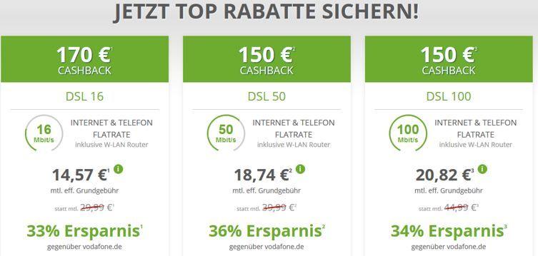 Vodafone DSL Rabatt Vodafone DSL mit Festnetzflat schon ab 14,57€ mtl.