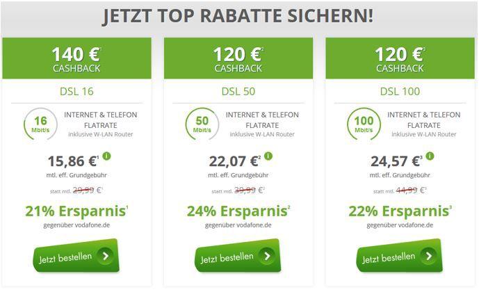 Vodafone Flatrate DSL günstige Vodafone DSL mit Festnetz Flatrate dank Rabatt und Cashback