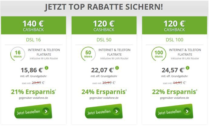 Vodafone Flatrate DSL Vodafone DSL mit Festnetzflat schon ab 16€ mtl.