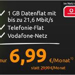 Vodafone Allnet Flat + 1GB Daten für nur 6,99€ mtl.