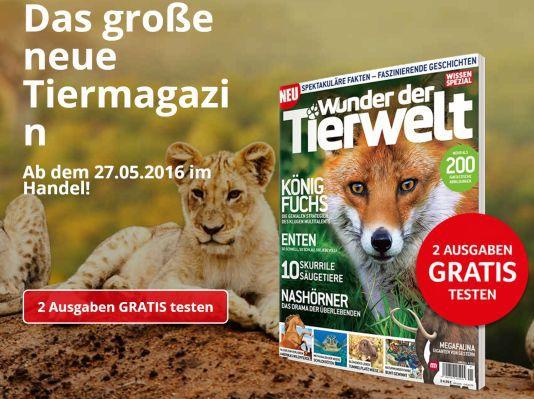 2 Ausgaben Wunder der Tierwelt gratis – Kündigung notwendig