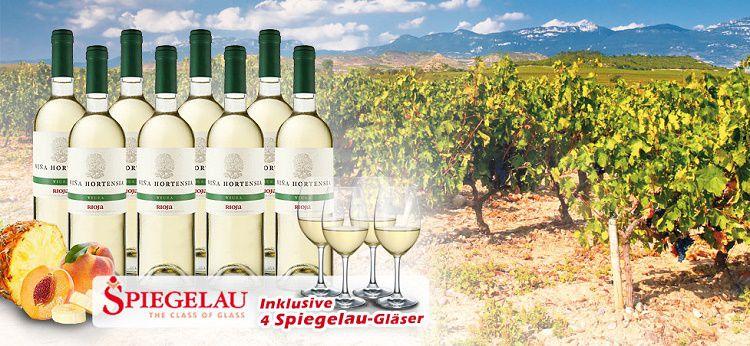ebrosia a010794 Story 8 Flaschen Viña Hortensia Rioja + Spiegelau Weißweingläser für 39,90€