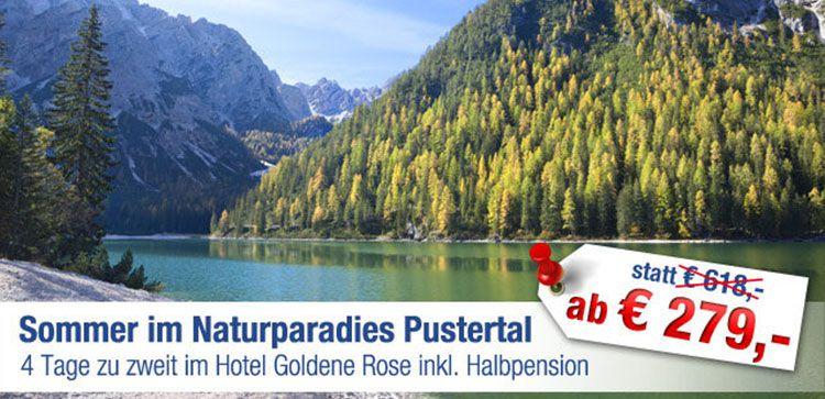 4 Tage zu zweit im Pustertal inkl. Halbpension & Wellness ab 279€ (statt 618€)