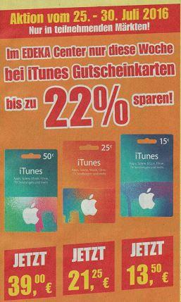 iTunes Karten mit bis 22% Rabatt im E Center + Edeka (offline)