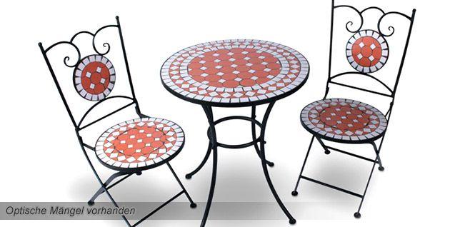 Mosaik Gartentisch Set von Jago mit 2 Klappstühlen (MGTS01)  für 29,95€ (statt 112€) B Ware