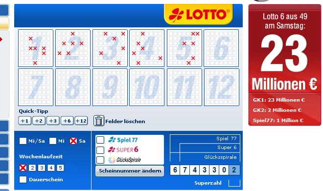 lottobay LOTTOBAY: 5 Felder Lotto 6 aus 49 für 0,60€   Nur für Neukunden