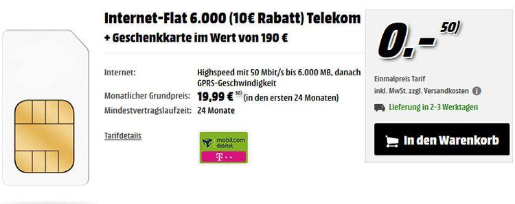 mm tarif Telekom Flat mit 6GB bis zu 50 Mbit/s für nur 19,99€ mtl. + 190€ Geschenkkarte (effekt. 14,16€ mtl)