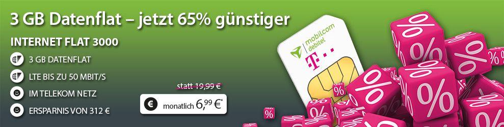 mobilcom debitel 3gb datenvolumen Telekom LTE FLAT mit 3 GB oder 6 GB ab 6,99€ mtl.
