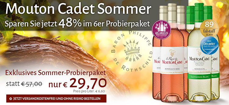 mouton cadet 6er Pack Mouton Cadet im Sommerweinpaket nur 29,70€