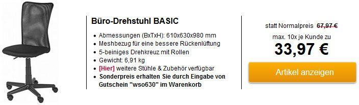 Bürodrehstuhl BASIC mit Sitzhöhenverstellung & Meshbezug für 33,97€