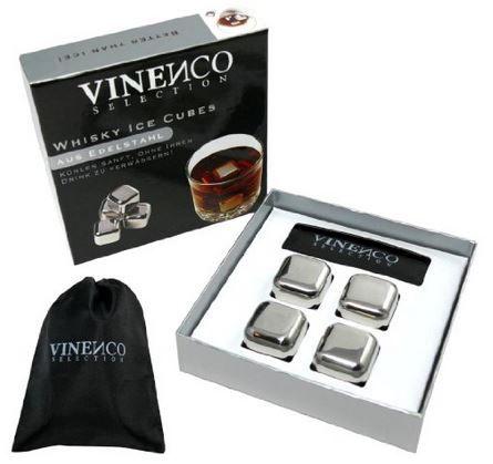 VINENCO Whisky Ice Cubes Set unschmilzbar aus Edelstahl ab 16,99€
