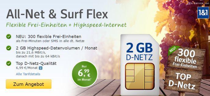 1und1 Banner 1&1 All Net & Surf Special ab 6,99€/Monat   bis zu 300 Freieinheiten + 4 GB Internet