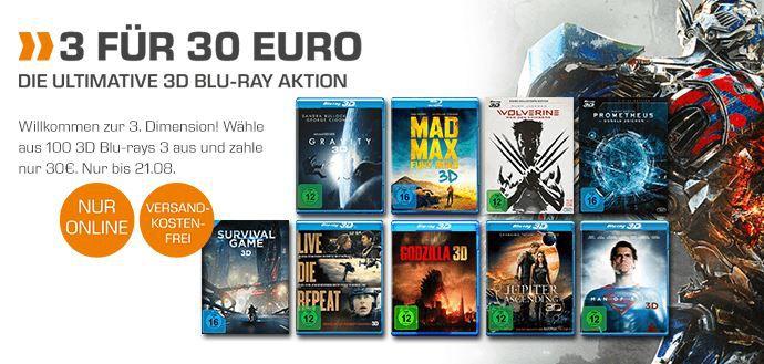 3D Blu rays: 3 für nur 30€ bei Saturn
