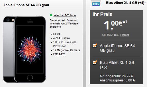 Apple iPhone SE 64GB Blau Allnet XL iPhone SE + Blau.de (O2) AllNet + SMS Flat + 4 GB LTE Daten für 25,03€ mtl.