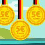 Bahn Olympia-Rabatt: 5€ Rabatt für jede gewonnene Goldmedaille für Deutschland