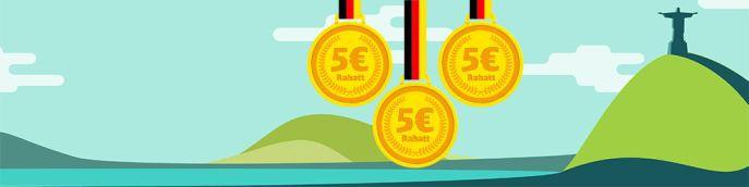 Bahn Olympia Rabatt: 5€ Rabatt für jede gewonnene Goldmedaille für Deutschland