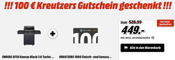 Enders 8735 Kansas Black 3 K Turbo Gasgrill + 100€ Kreutzers Gutschein für 449€