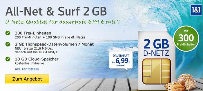 Bildschirmfoto 2016 08 04 um 09.25.58 1&1 All Net & Surf Special ab 6,99€/Monat   bis zu 400 Freieinheiten + 4 GB Internet