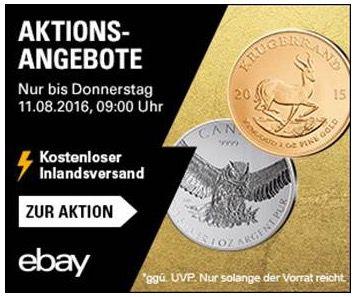 Aktionsangebote für Gold und Edelmetalle bei eBay + VSK frei