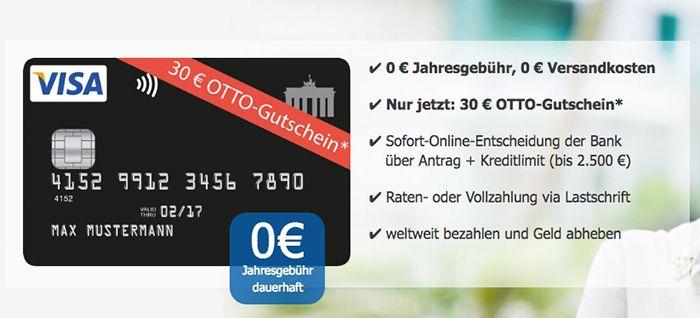 Bildschirmfoto 2016 08 04 um 12.23.20 Schwarze VISA Kreditkarte ohne Jahresgebühr + 30€ OTTO Gutschein
