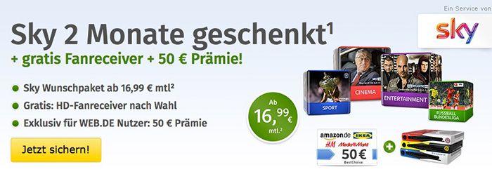 Sky ab 16,99€ mtl. + 2 Monate gratis + Fan Receiver + 50€ Gutschein