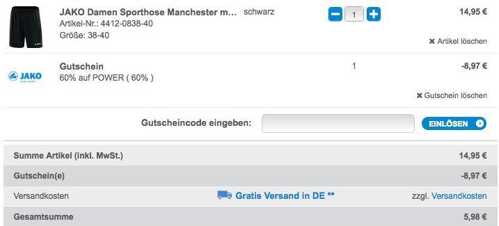 Gutscheinfehler! 60% auf ALLES bei Jako + VSK frei   z.B. Ziptop Jacke für 20€ (statt 40€)