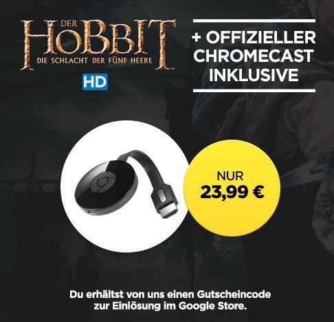 Google Chromecast 2 + Der Hobbit 3 HD Stream für 23,99€ (statt 39€)
