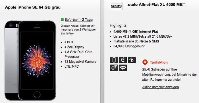 Bildschirmfoto 2016 08 10 um 11.31.26 Otelo Allnet Flat XL (Vodafone) mit 4GB + iPhone SE für 1€ Galaxy S7 Edge ab 49€ für 35€ mtl.
