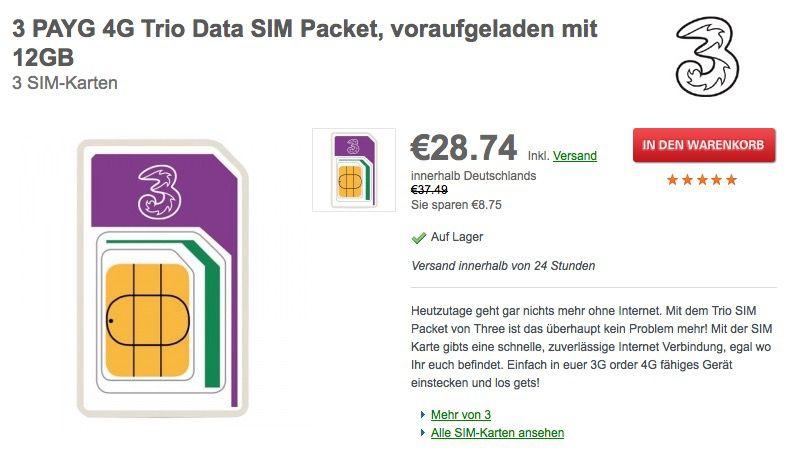 3 PAYG 4G Trio Data SIM Packet LTE SIM Karte fürs Ausland inkl. 12 GB Datenvolumen für 25€