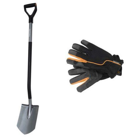 Fiskars Ergonomic Gärtnerspaten + Handschuhe für 24,99€