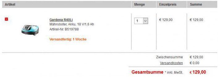 Bildschirmfoto 2016 08 12 um 18.26.57 ABGELAUFEN! Preisfehler? Gardena R40Li – Akku Mähroboter für 129€ inkl. VSK (statt 747€)
