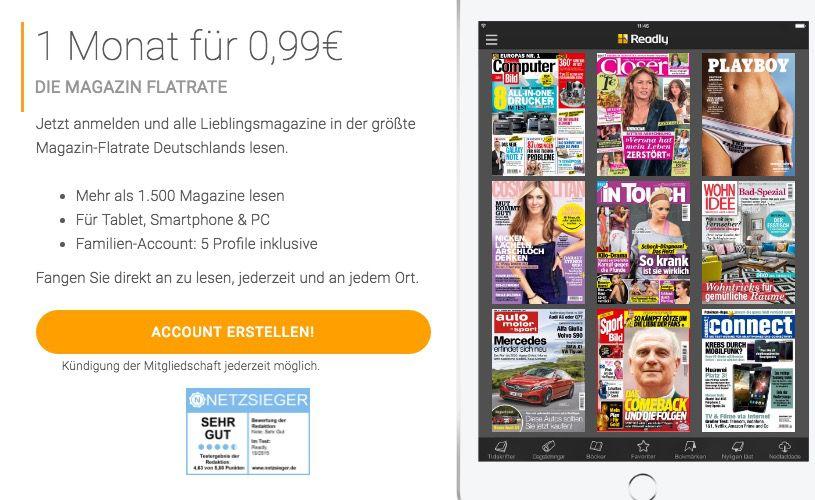 Bildschirmfoto 2016 08 15 um 15.32.44 1 Monat Readly Magazin Flatrate für 0,99€ (statt 9,99€)   Über 1500 Magazine