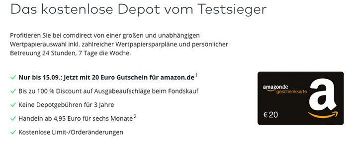Bildschirmfoto 2016 08 17 um 09.01.48 comdirect Depot 3 Jahre gebührenfrei + 70€ Amazon.de Gutschein