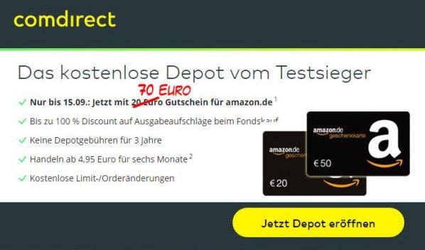 Bildschirmfoto 2016 08 22 um 09.18.49 comdirect Depot 3 Jahre gebührenfrei + 70€ Amazon.de Gutschein