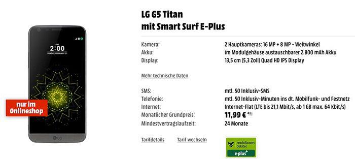 LG G5 + mit Smart Surf E Plus + HiFi Modul und LG in Ears für 377€ (statt: 444€)