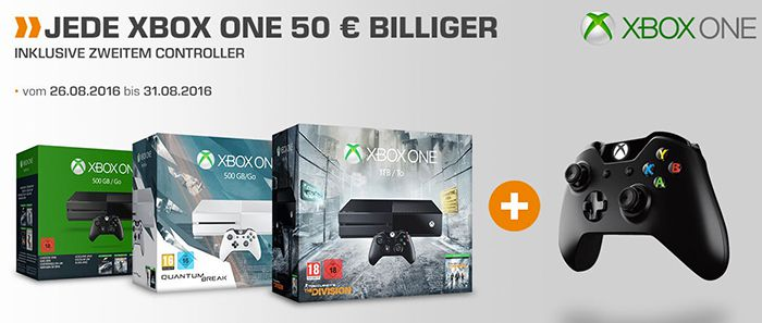 50€ auf alle Xbox One Konsolen + gratis 2. Controller bei Saturn