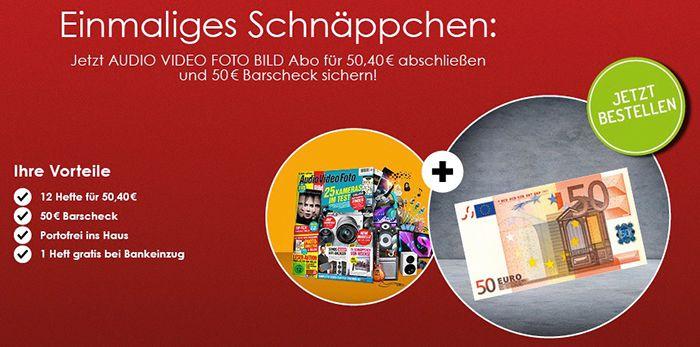 Abgelaufen! Jahresabo Audio Video Foto Bild für 50,40€ + 50€ Verrechnungsscheck