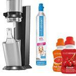 Sodastream Angebot – Crystal Megapack mit 60L Zylinder + 3 Karaffen + 2 Sirup für 94,99€ (statt 122€)
