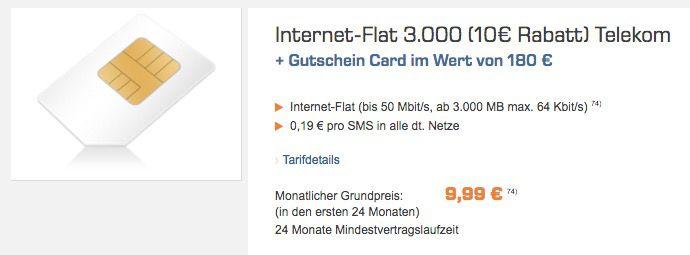 Bildschirmfoto 2016 09 23 um 09.05.31 Knaller! Telekom 3GB LTE Internet Flat + 180€ Saturn Gutschein für 9,99€ monatlich